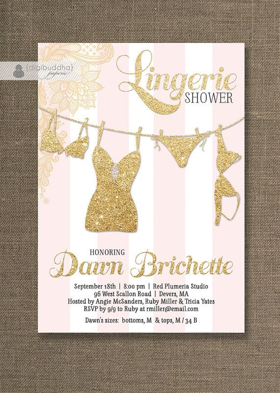 pink u0026 gold lingerie shower invitation gold glitter lace pink stripes modern bridal personal free priority shipping or diy printable dawn
