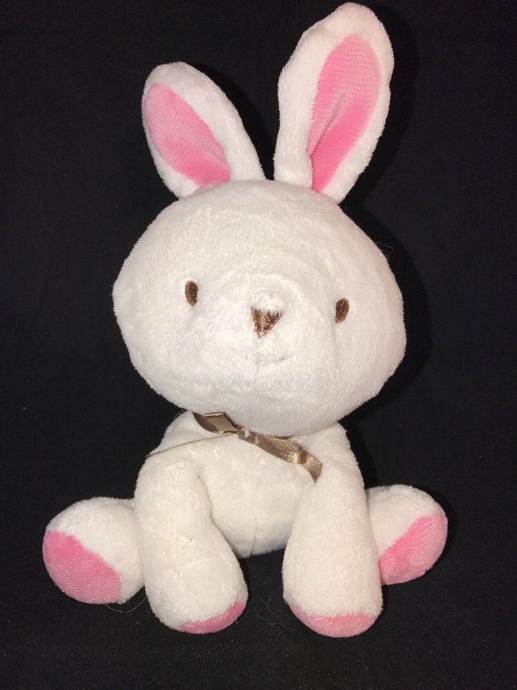 Rattles Vintage Carters Starters Baby My Best Friend Pink White Bunny Rattle Toy
