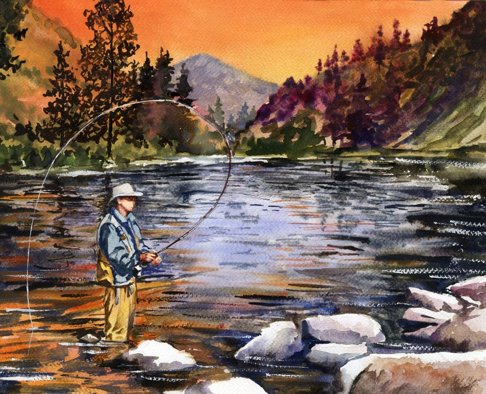 Watercolor Fly Fishing 的图片搜索结果 Fly Fishing Art Fish