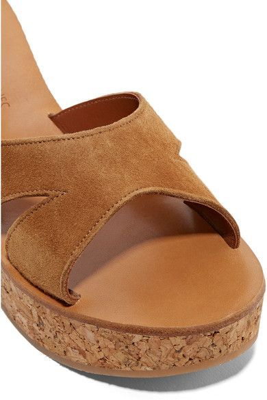 b44da2fe739e K Jacques St Tropez - Kobe Suede And Cork Wedge Sandals - Tan