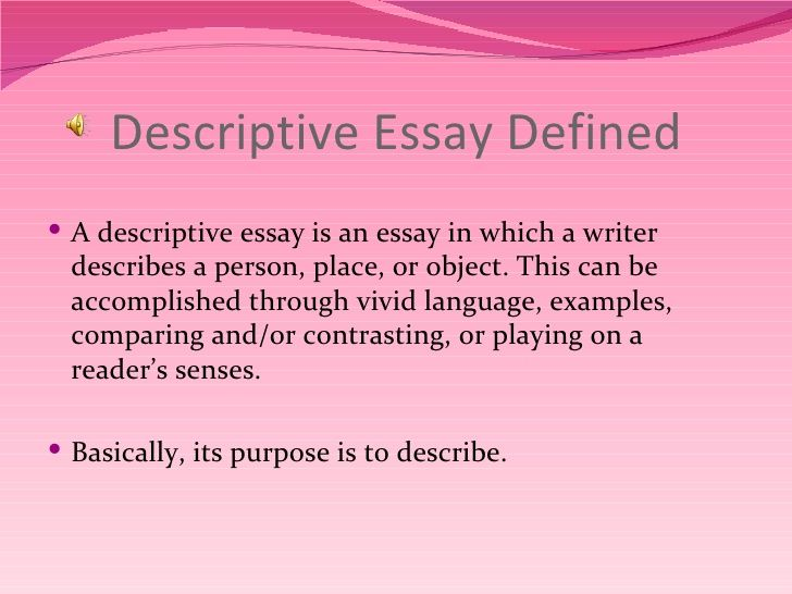 Descriptive Writing Google Search Example Of Essay Examples Define