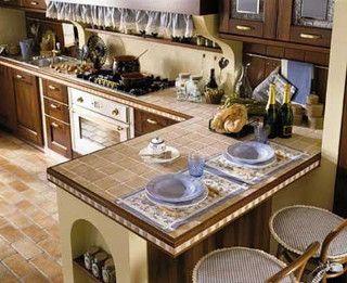 Top in piastrelle di una cucina in muratura kuchyně pinterest