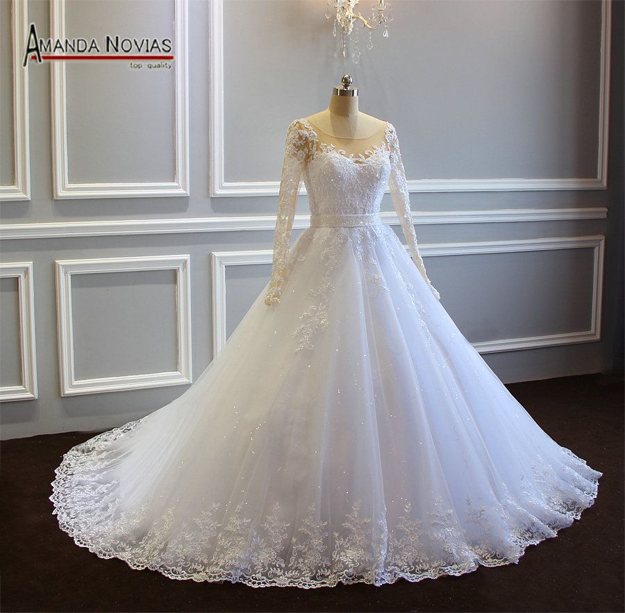 aline wedding dress with long sleeves and beading belt high