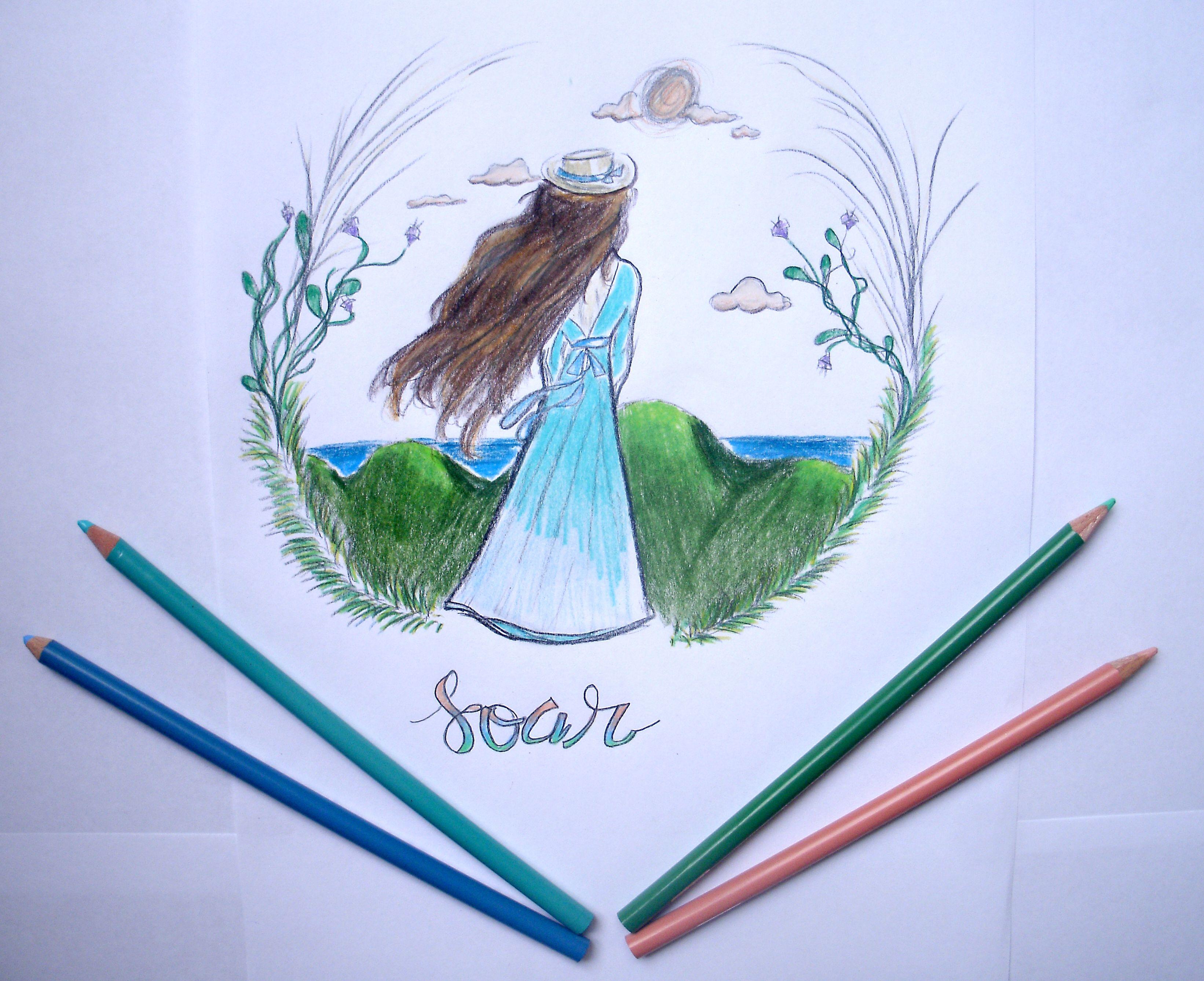 soar seethesea colored pencil doodle