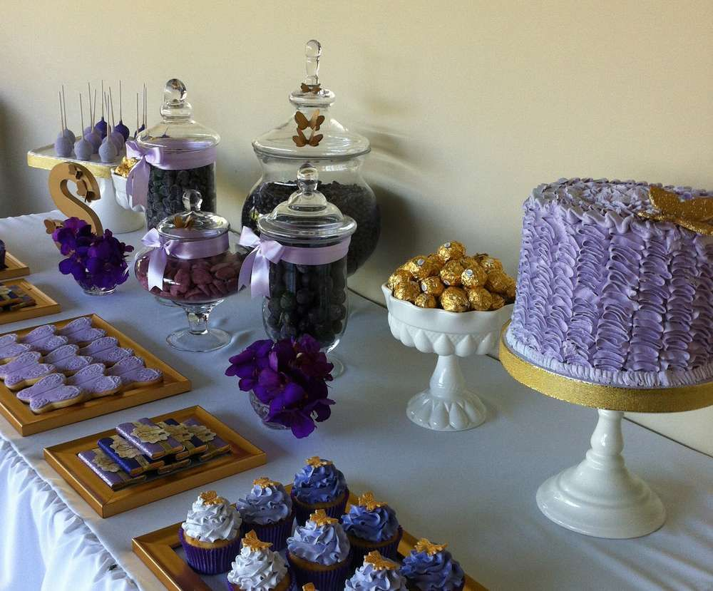 Purple, Gold and Butterflies Birthday Party Ideas in 2019 ...