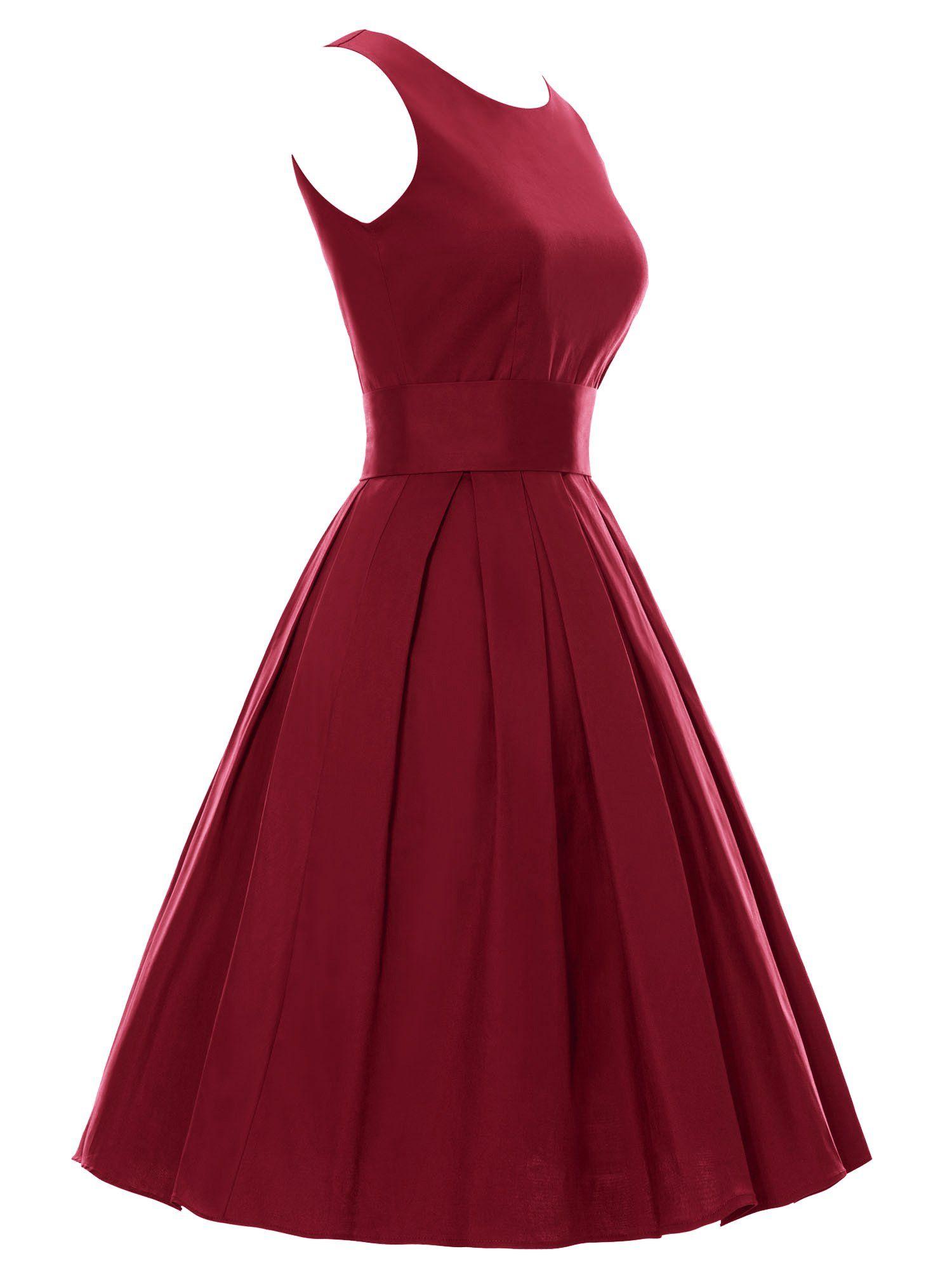 luouse sommer damen ohne arm kleid dress vintage petticoat