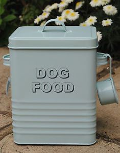 Retro vintage-style aqua pastel dog food Storage Tin & DOG FOOD Storage Tin Aqua Blue pastel duck egg with a SCOOP Retro ...