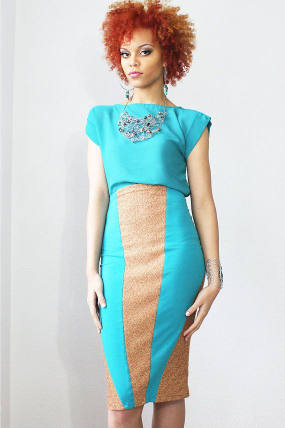 Turquoise Pencil Skirt by Dimiloc on Etsy