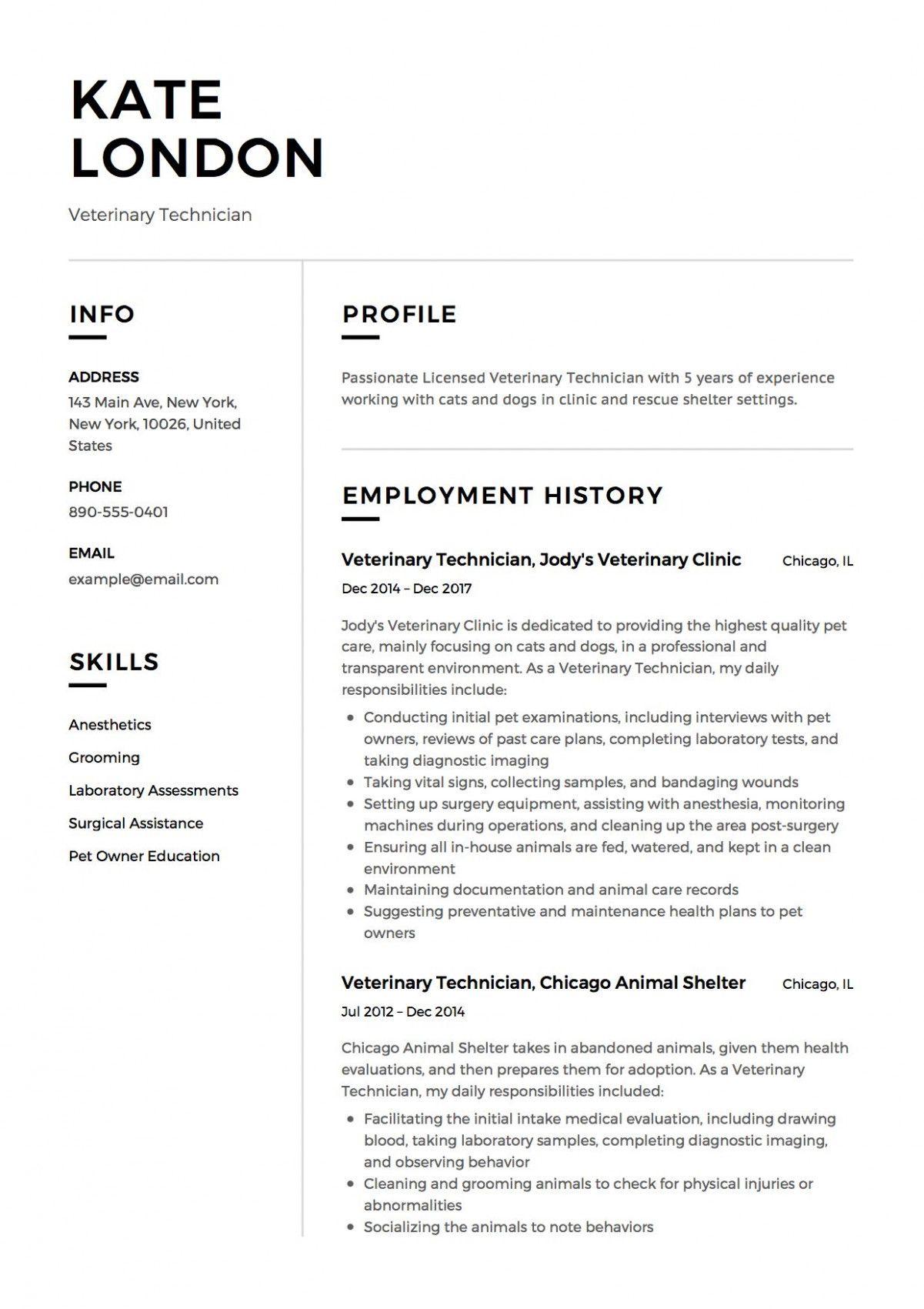 11 Vet Tech Resume Samples in 2020 Resume examples