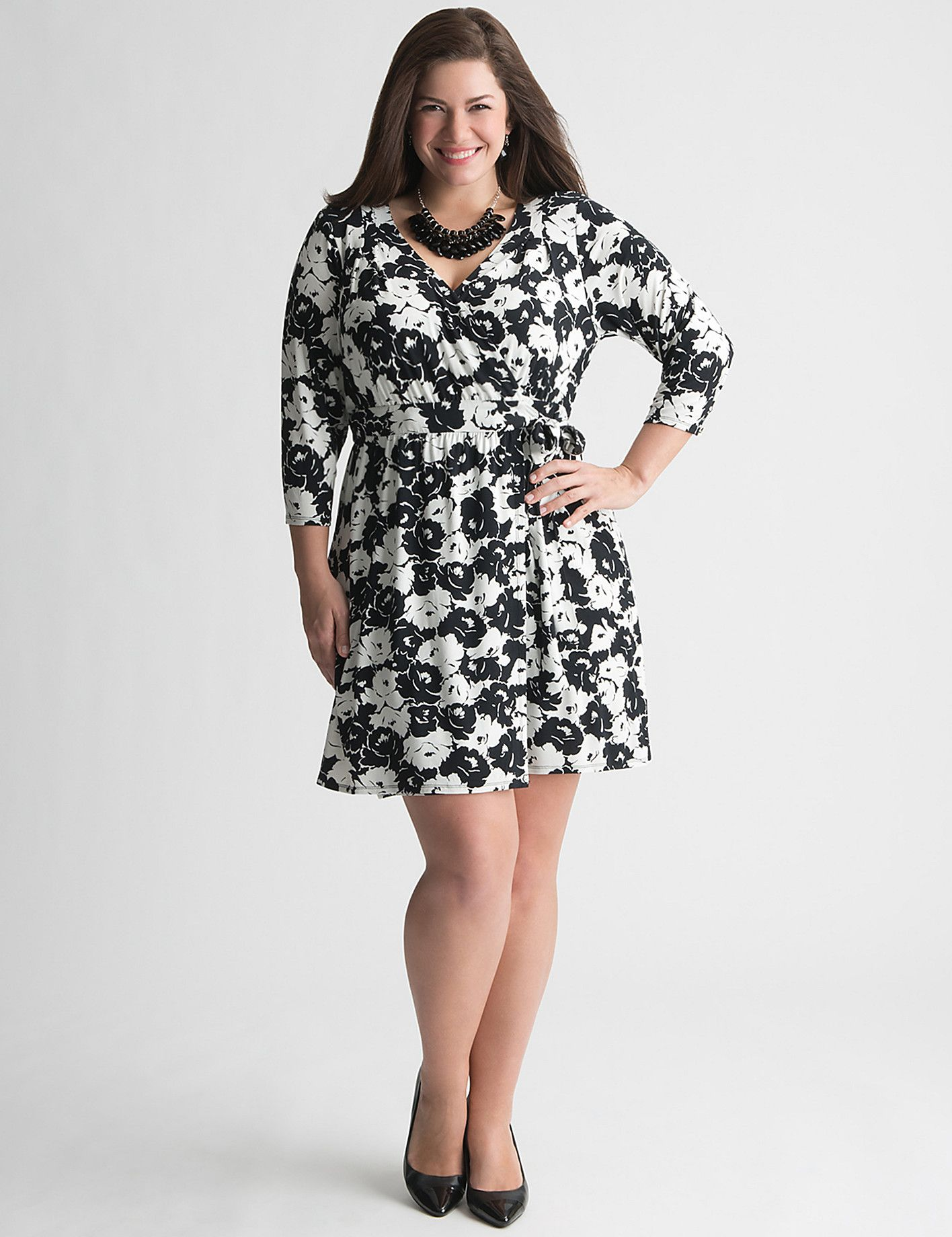 Full Figure Floral Wrap Dress by Lane Bryant | Sonsi | Full figure ...