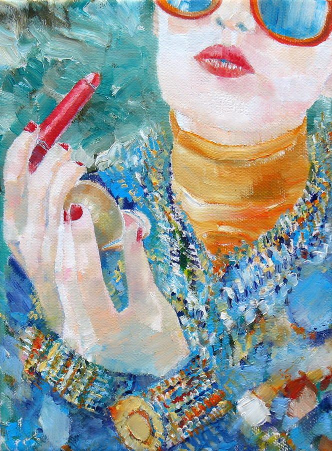 Sunglasses Painting | Sunglasses - Oil Portrait Painting - Girl With Lipstick And Sunglasses ...
