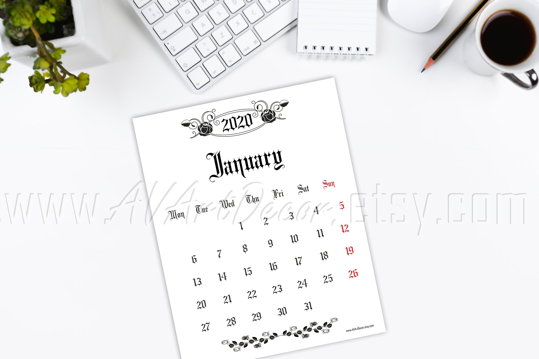 2020 calendar printable Calendar 2020 Digital download PDF