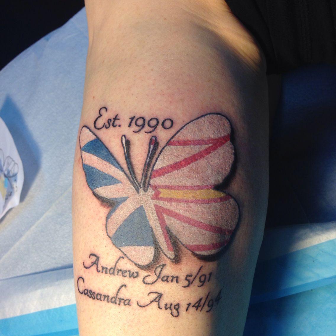 The O Jays Butterfly Tattoos And Clothes On Pinterest - Butterfly tattoo with the newfoundland flag inside