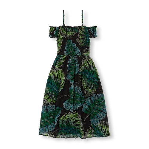 018d8a0529db Girls Mommy And Me Short Sleeve Tropical Leaf Print Off-Shoulder Maxi  Matching Dress