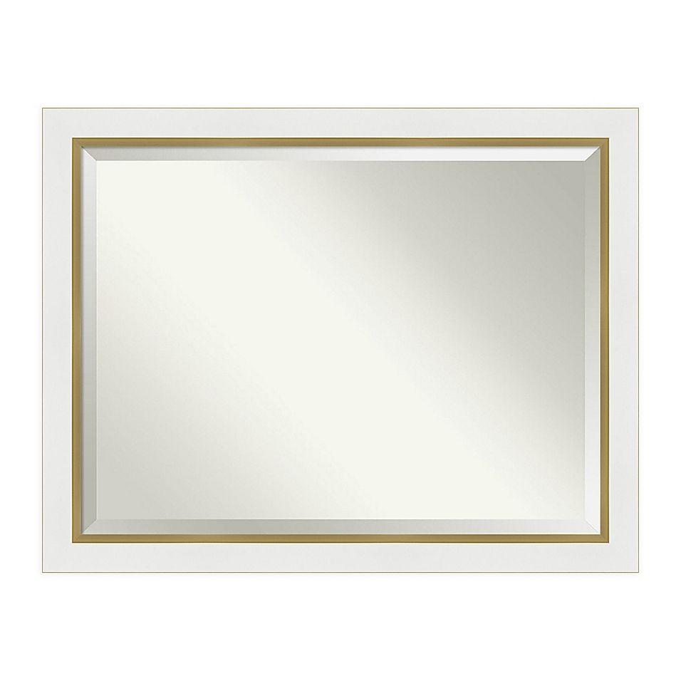 Amanti Art Eva 45 Inch X 35 Inch Framed Bathroom Vanity Mirror In White Gold Bathroom Vanity Mirror Beveled Edge Mirror Mirror Decor