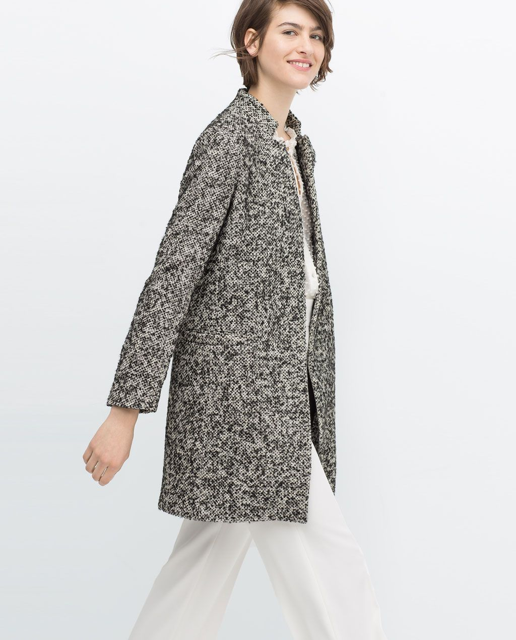 Black Boucle Coat Special Prices Woman Mantel Damen Oberbekleidung Frauen Mantel
