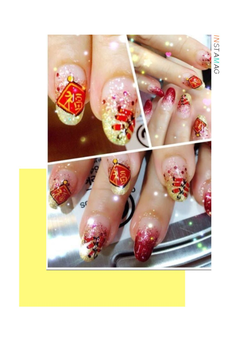 Chinese New Year Gel Mani   2017 Chinese New Year Nail Art Design ...
