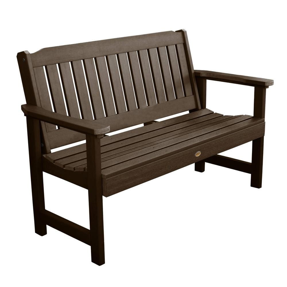 Highwood Lehigh 60 in. 2-Person Weathered Acorn Recycled Plastic Outdoor Garden Bench-AD-BENW1-ACE - The Home Depot