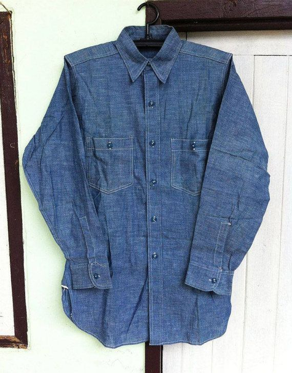 d70925c8fe8 Vintage 40 s WWII USN Chambray Shirts by BIGVINTAGEHITSTORY