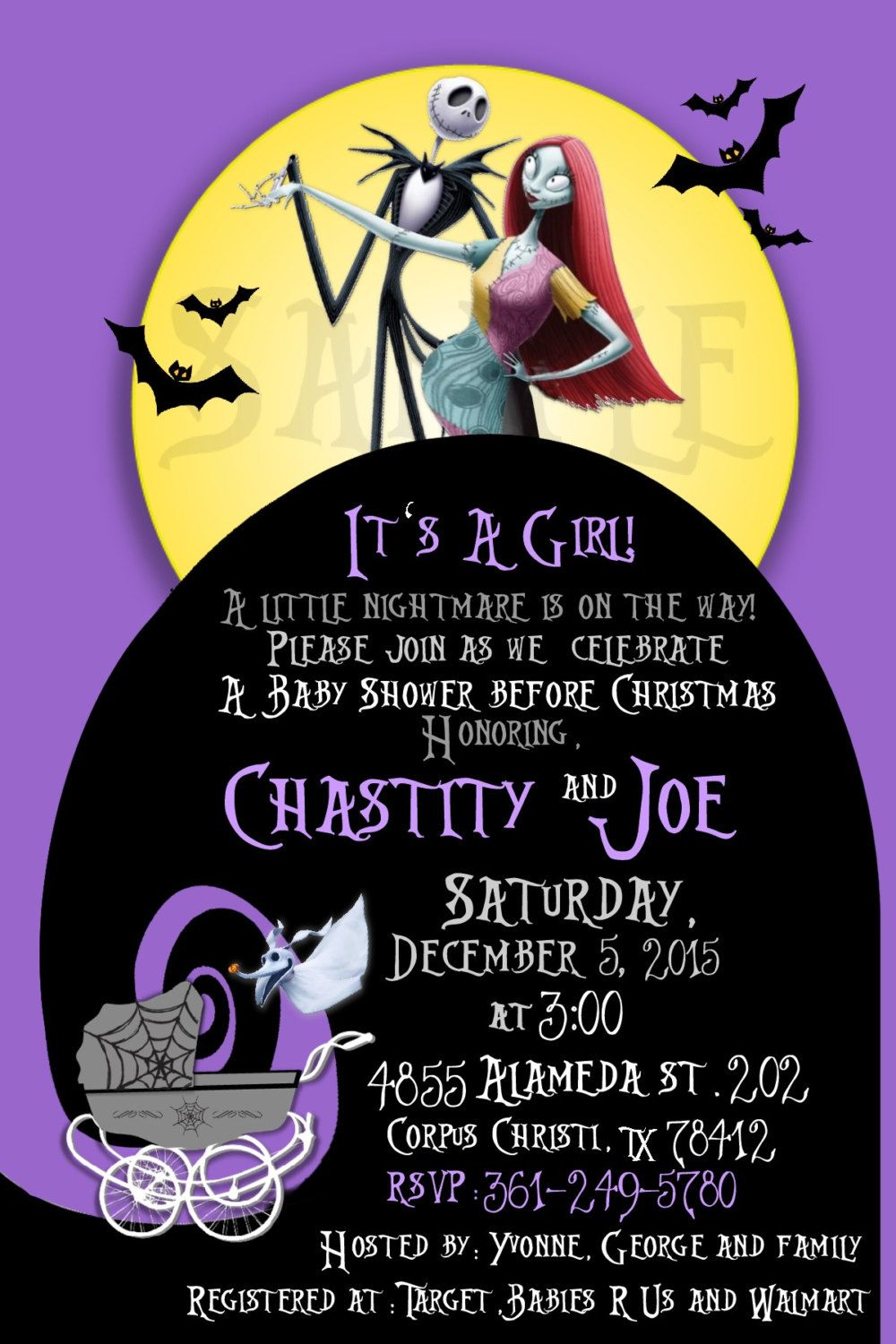 Nightmare Before Christmas Baby Shower Invite by