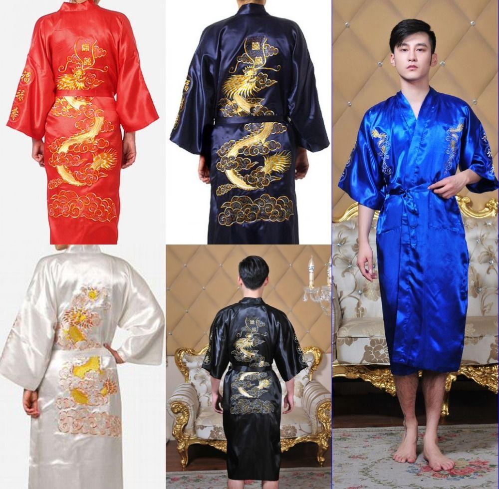 robe kimono man hombre Chinese Cheongsam Men s sleepwear Big Dragon  Embroidery Bathrobe nightwear Robe 5 color Free shipping 9abc5499c