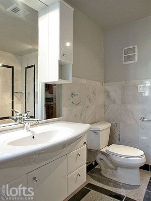 12x12 Marble Tile Stacked Wainscotting Bathroom With