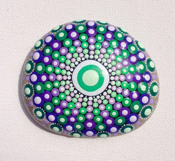 Dot Art Mandala Painted Stone Fairy Garden Green Gift  Decoration Painted rock Beachstone Purple
