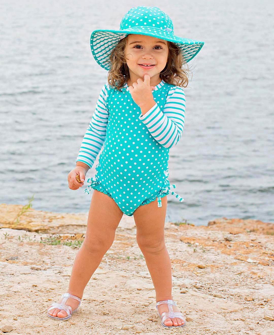 dda546f41 RuffleButts Baby/Toddler Girls Long Sleeve One Piece Swimsuit Aqua Polka Dot  with UPF 50 Sun Protection 36m * Inspect this remarkable item by going to  the ...