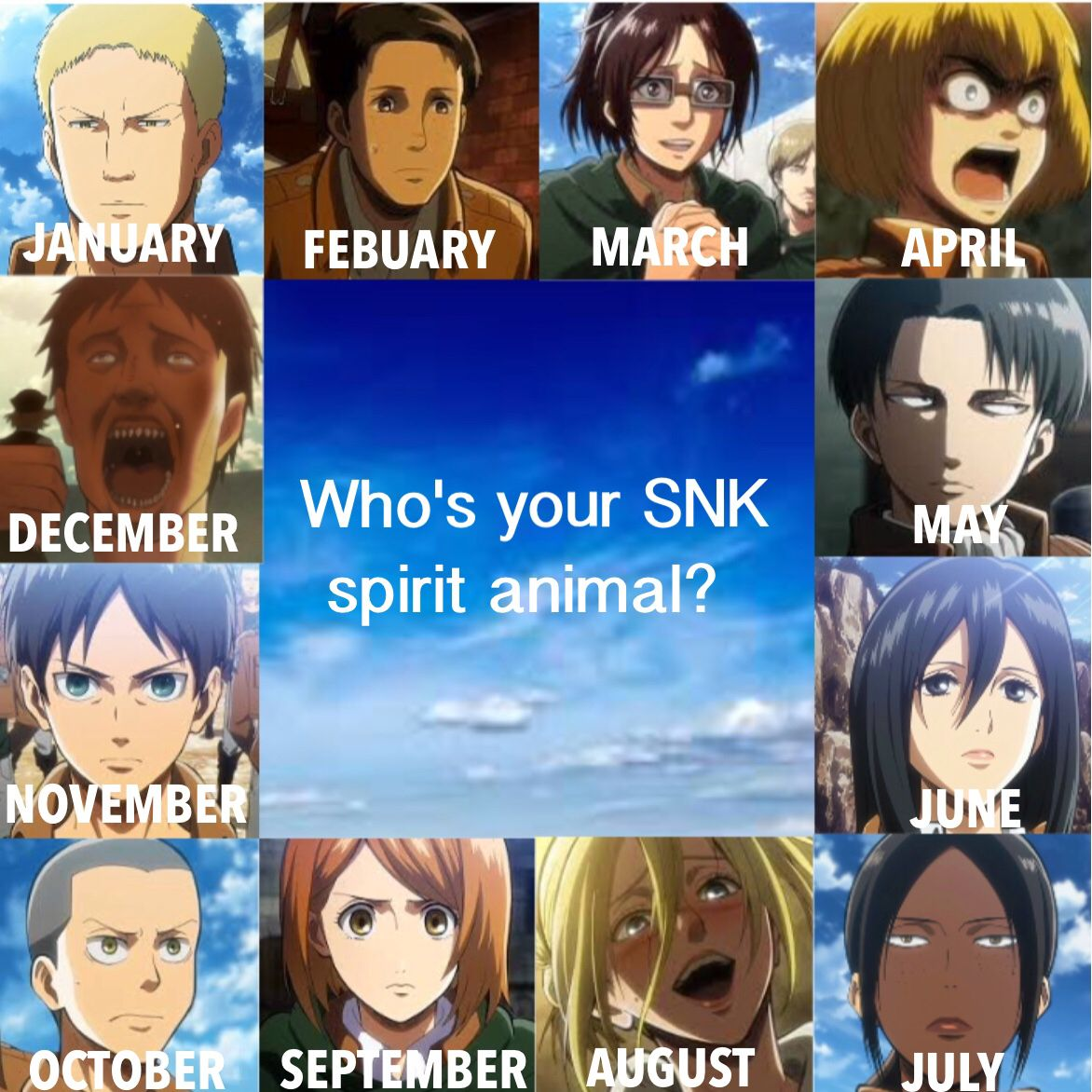 Mine is Eren ^_^ But in truth it's actually Hanji. She is my inspiration in all things. Who's yours?