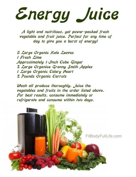 30-Day Nutrition Challenge: Energy Juice Recipe | juice | Energy