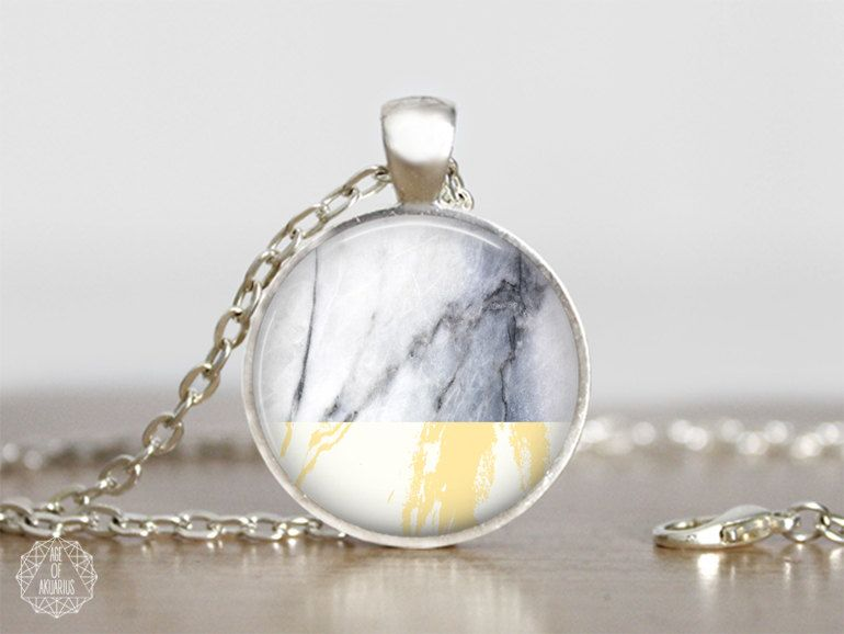 Yellow Marble Pendant Necklace   Marble Necklace Boho Necklace Marble Jewelry White Marble Color Block Necklace Pastel Grunge Aesthetic by AgeOfAkuarius on Etsy