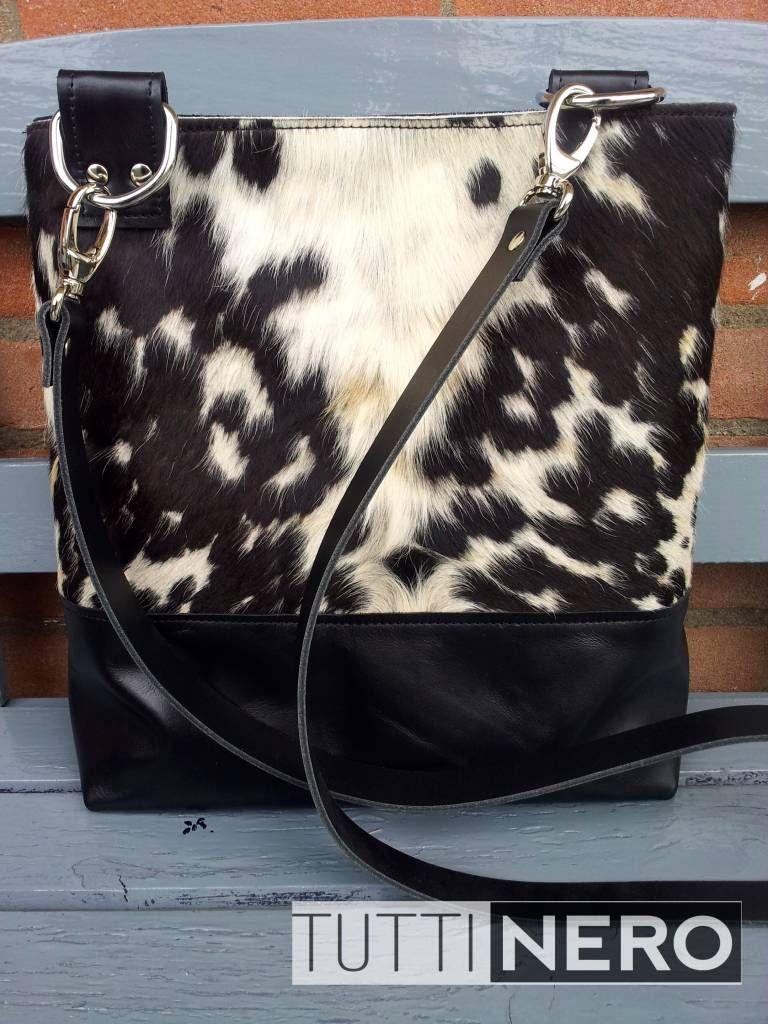 Bags by MI. IDENTITY. Zwart leren tas met koeienhuid