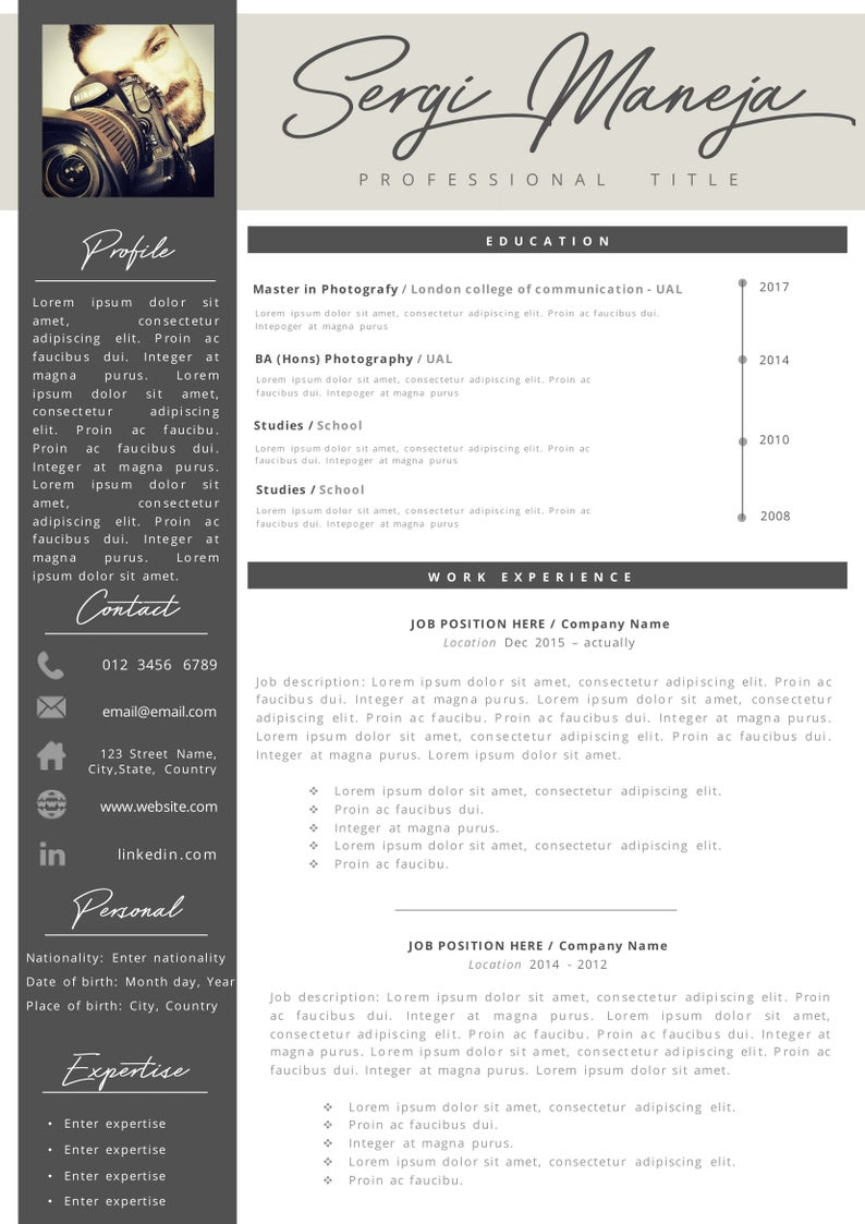 creative professional resume   cover letter template