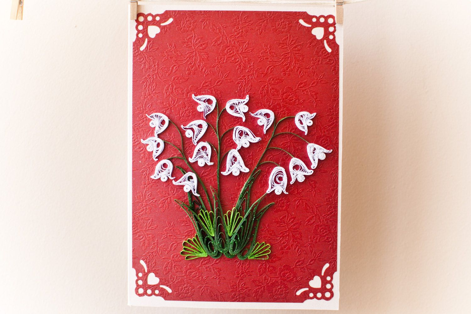 Birthday card greeting card flowers quilled card lily of the birthday card greeting card flowers quilled card lily of the valley mothers izmirmasajfo