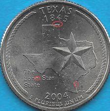 2004 P Texas State Quarter Error Coin Rev Die Chips