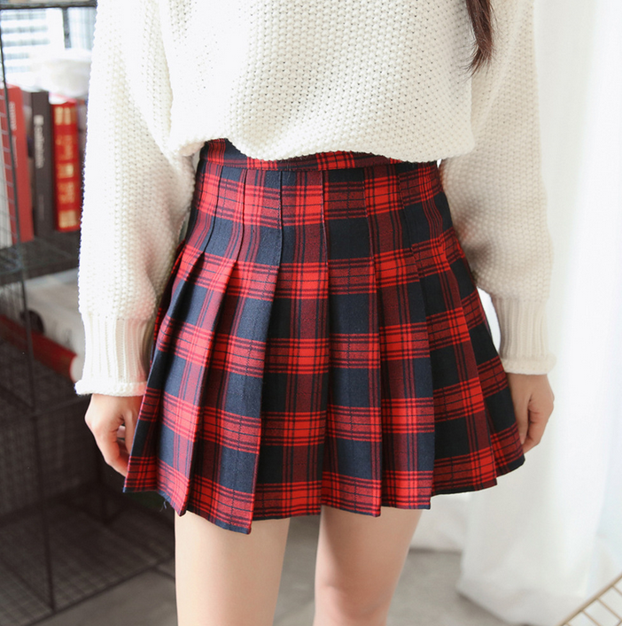 Red Grid Pleated Skirt (S-XL)