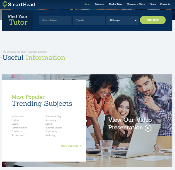 Smarthead Tutoring Service Online School WordPress Theme Themes Plugin Blogger