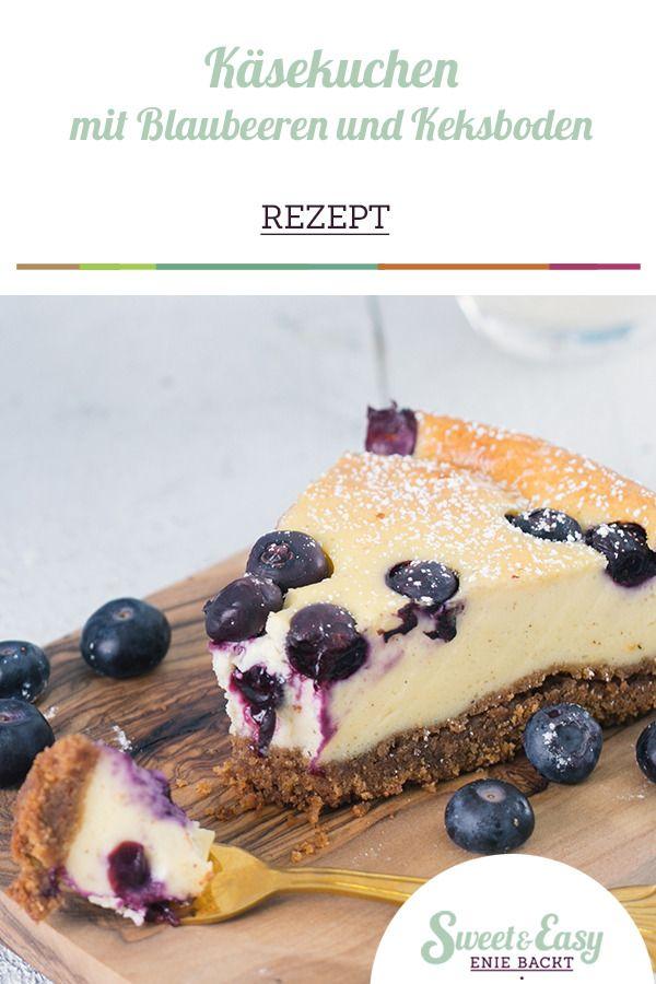 Rezept: Käsekuchen mit Blaubeeren und Keksboden