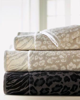 """Snow Leopard"" Towels by Natori at Horchow. | Bath towels ..."
