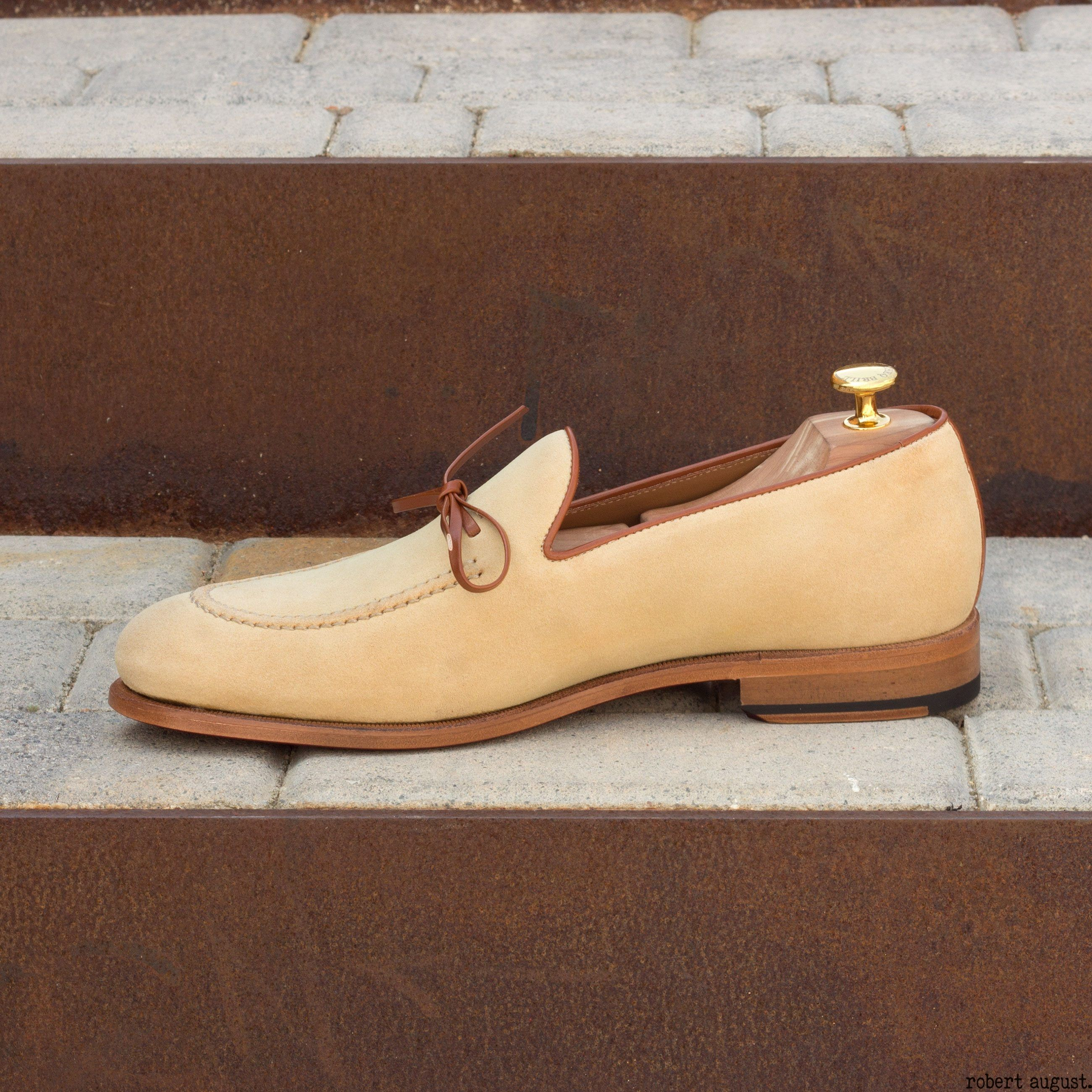 Sand Luxe Suede with Cognac Box Calf