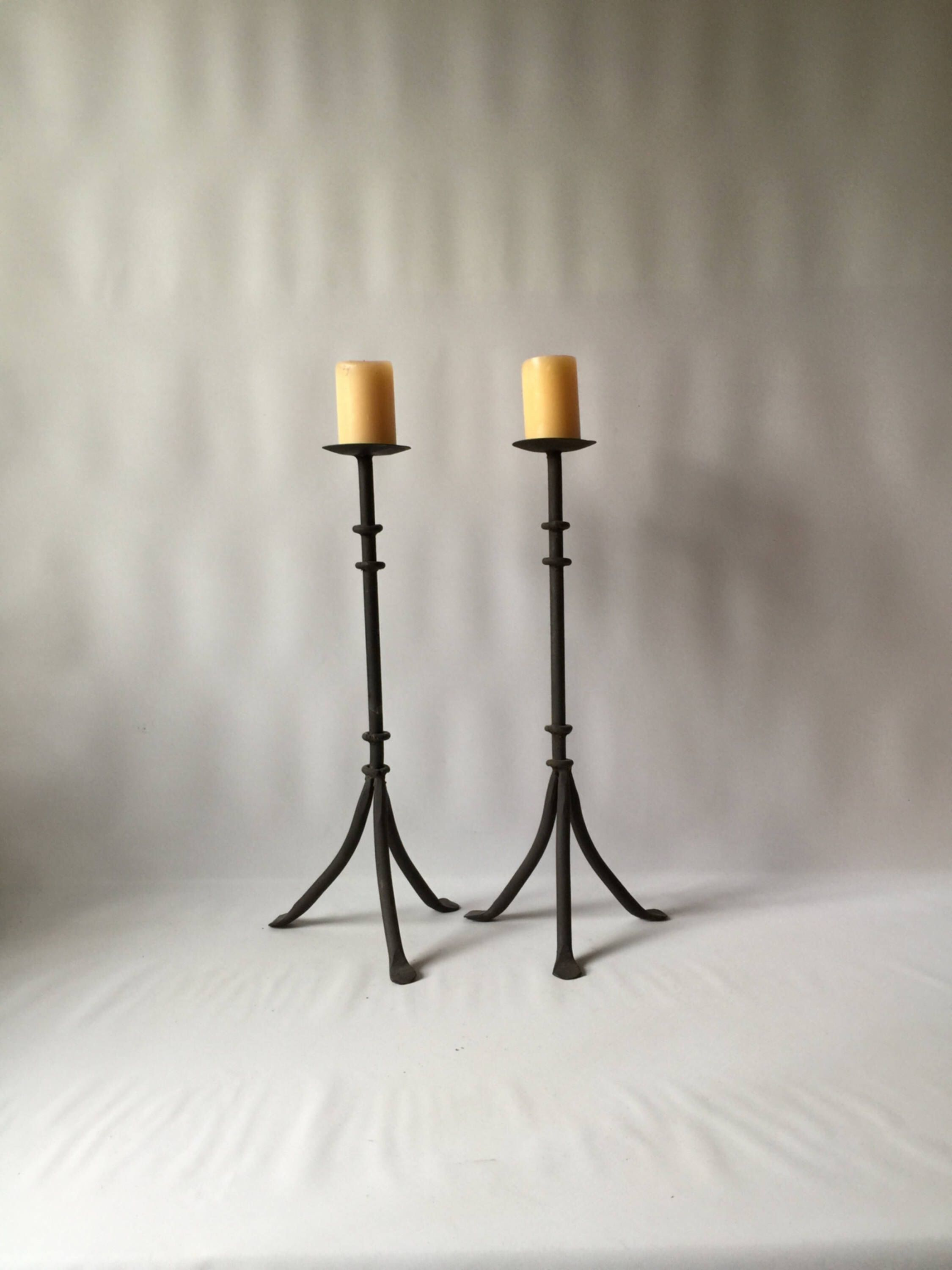 Candlesticks vintage rod iron tall rustic candle holders rustic ...