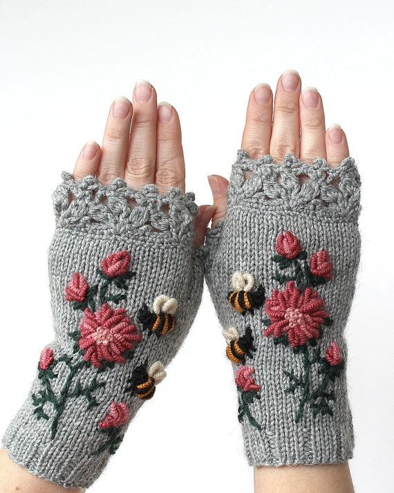 Knitted Fingerless Gloves, Clothing and Accessories,Gloves & Mittens ...