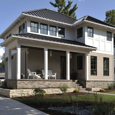 Love The Black And White Parts White House Exterior With Black Windows Design Pictures Remodel Decor And I Hip Roof Design Hip Roof Prairie Style Houses