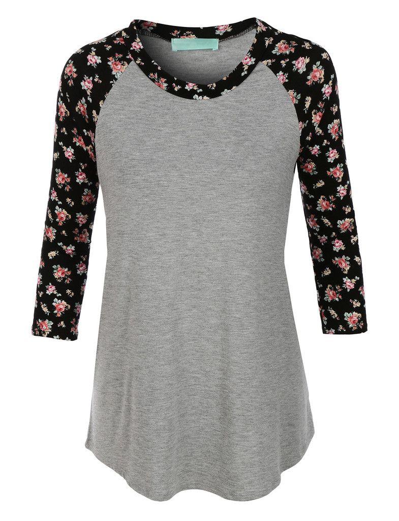 LE3NO Womens Lightweight Round Neck Floral Raglan T Shirt
