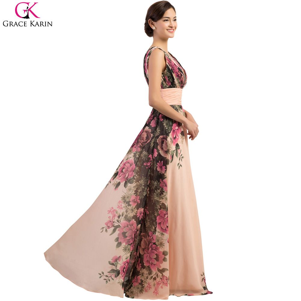 Flower print wedding gown  Cheap Mixed Style Grace Karin Chiffon Flower Print Pleat Wedding