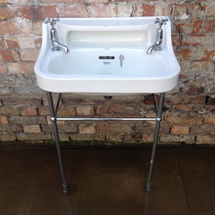 Reclaimed shanks sinks featuring a chrome stand and original shank ...