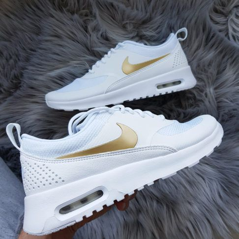 new styles 7dec1 77993 Nike Wmns Air Max Thea J White Metallic Gold White weiss gold