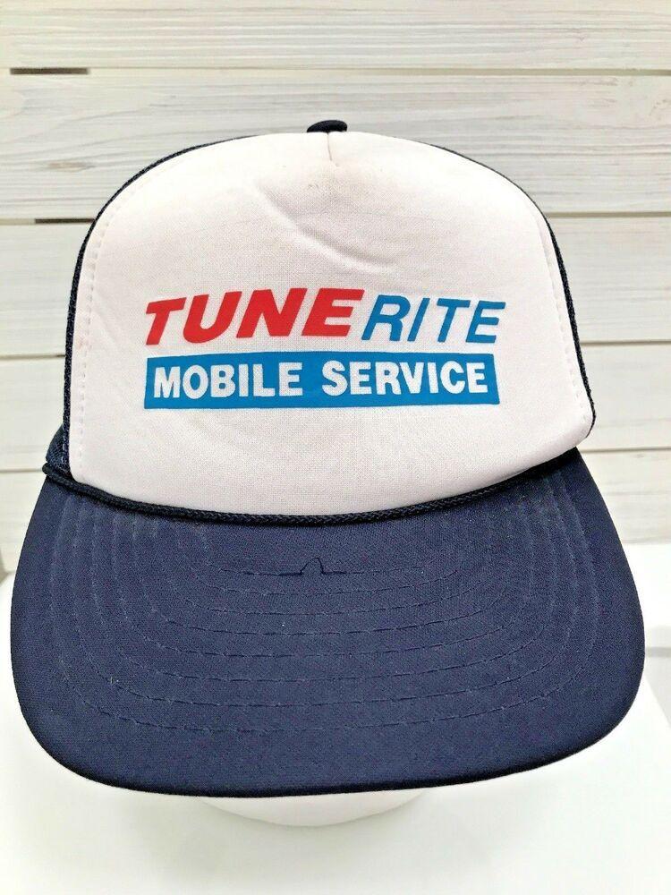 Vintage Tune Rite Mobile Service Foam Mesh Snapback Hat Blue White Red   Otto  TruckerHat 06876ef372bf