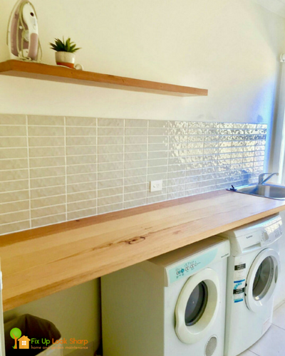 A Recycled Messmate Laundry Benchtop And Floating Shelf Finished With Osmo Polyx Oil This Timber Has Brought Warmth To Wh Laundry Laundry Room Design Shelves