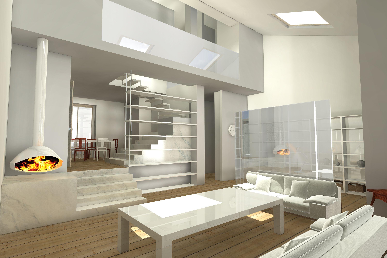 Interiordesign #Rendering soggiorno con doppia altezza | Interior ...